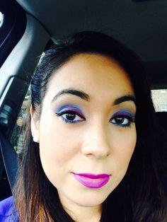 Blue and purple. bh cosmetics eyeshadow used! Everything else Mac. Lipstick Mac heroine.