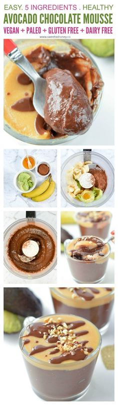 Avocado Banana Chocolate Mousse - an easy 4 ingredients healthy dessert recipe with a chocolate pudding texture. 100% Vegan, Paleo, gluten free. #avocado #chocolatemousse #chocolate #vegandessert #healthydessert