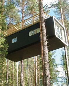 Stay in a Tree House: SwedenL - Treehotel, Harads  All are elevated between 12 and 20 feet off the ground and look out over the traditional village of Harads to the Lulea River. In typical Scandinavian fashion, Treehotel also has a sauna -- only it's a circular pod hoisted seven feet up.
