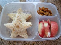 Easy peasy lunch!  Two turkey and cheese star-shaped sandwiches, pretzel goldfish, and white nectarine wedges.