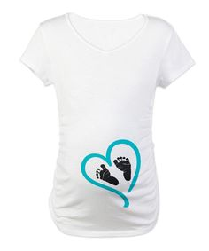 Take a look at this White Footprint Heart Maternity Tee - Women on zulily today!