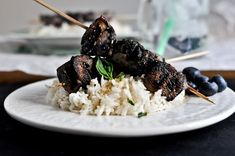 Grilled blueberry chicken skewers with coconut rice