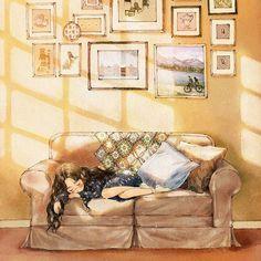 A small shade was formed among the sunlight, and when it softly covered my eyes, I was able to calmly fall asleep. Among the shade 내리쬐는 햇볕 사이로 작은 그늘이 살포시 내 두 눈을 가려주면 나는 편안히 잠을 잘 수 있었어요. 그 그늘 속에서. (Full Ver. grafolio.com/works/277595) #일러스트 #일러스트레이션 #그늘 #그림자 #소녀 #낮잠 #소파 #액자 #쿠션 #휴식 #잠 #illust #illustration #drawing #sketch #paint #girl #shade #sleep #sunlight