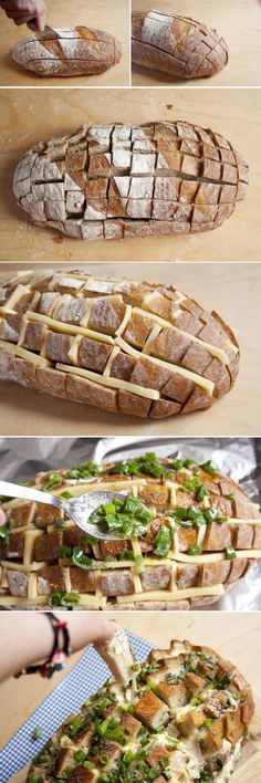 Cheesy Pull Apart Bread 1 Loaf of Bread, 350g Cheese, Green Onions, 1/2 cup Butter http://www.handimania.com/cooking/cheesy-pull-apart-bread.html