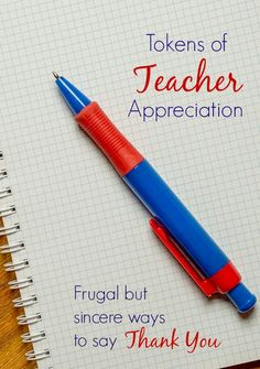 Tokens of Teacher Appreciation - Frugal but sincere ways to say thank you - Fantastic Fun & Learning