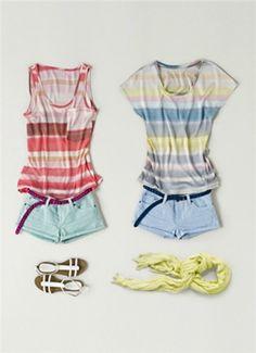 'Look casual' de @Mango: camiseta de rayas + shorts