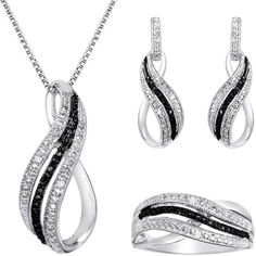 1/10 CT. T.W. White & Color-Enhanced Black Diamond 3-pc. Jewelry Set (315 BRL) ❤ liked on Polyvore featuring jewelry, black diamond jewelry set, white pendant, black diamond heart pendant, heart pendant and heart shaped jewelry