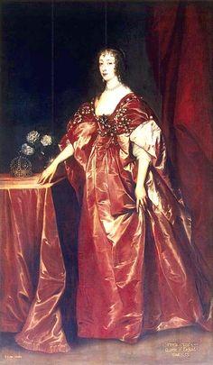 1638 Henrietta-Maria by van Dyck (State Hermitage Museum - St. Petersburg Russia). Queen Henrietta Maria wears a heavily jewelled dress in this 1638 van Dyck portrait.