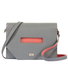 Madeleine Cross Body in Grey Saffiano Leather
