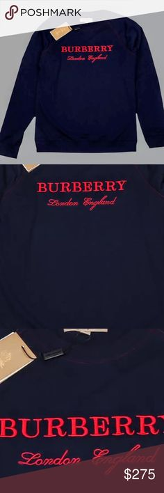 """🔥FINAL🔥NWT Men's Burberry Taydon Sweatshirt 💥$150 OFF!💥Brand new, authentic, crew neck sweatshirt for Men but definitely perfect for women as well. Navy Blue with red embroidered logo lettering on the chest. Very sharp and classy looking and easily dressed up or down! 💥Tagged """"L"""" as well as """"OS"""" it's Perfect for a Med or Large... roomier fit for a medium and measures out to a large. Can't go wrong with this one!!  Chest: Burberry Shirts Sweatshirts & Hoodies"""