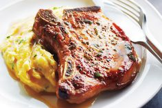 Pork Chops With Cider Sauce and Creamy Herb Polenta (Canadian Living)