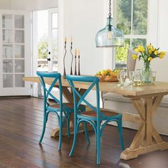 Cross-Beam Dining Table made from vintage Doug fir wood.