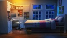 Int Teen Sister S Bedroom Night Scenery Anime Scenery Episode Interactive Backgrounds, Episode Backgrounds, Anime Backgrounds Wallpapers, Sister Bedroom, Girls Bedroom, Night Scenery, Anime Scenery, Home Design, Interior Design