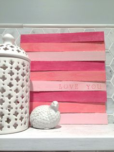 """3 Little Art Projects: This one is just a package of shims, craft paint, glue, and a sweet stamped """"love you"""" for kicks. <3"""