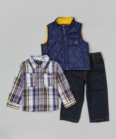 Another great find on #zulily! Navy & Yellow Puffer Vest Set - Infant & Toddler #zulilyfinds