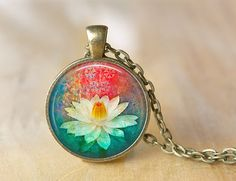 Lotus Flower Necklace  Altered Art Pendant  by ShakespearesSisters, $10.00