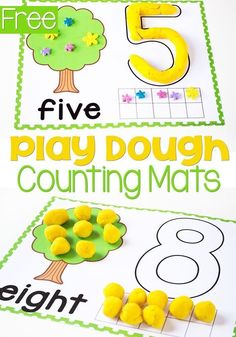 Free printable play dough number mats for numbers 1-10. These adorable number mats are great to help children with fine motor skills, counting, learning numerals and number words. #freeprintable #free #preschool #playdoughactivity #finemotorskills, #numbers #teacherresource #lifeovercs