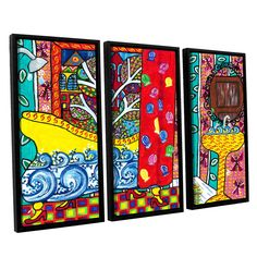 ArtWall Debra Purcell 'Reflections' 3 Piece Floater Framed Canvas Set