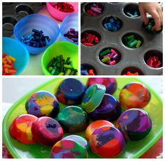 Recycle broken and stubby crayon fragments into rainbow super crayons.
