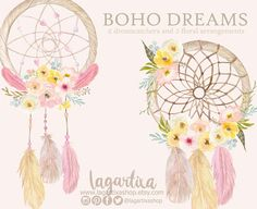 Pink and yellow flowers and feathers, watercolor dreamcatcher Dream Catcher Painting, Boho Chic, Watercolor Dreamcatcher, Dreamcatcher Feathers, Blog Banner, Dream Catcher Boho, Dream Catchers, Frame Wreath, Estilo Boho