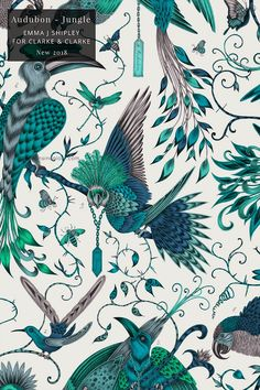 Emma J Shipley for Clarke & Clarke   Audubon in Jungle wallpaper #bedroomdecor #livingroomdecor #wallpaper #eclectic #funky   Seasons in Colour   Interior Design Studio and Blog