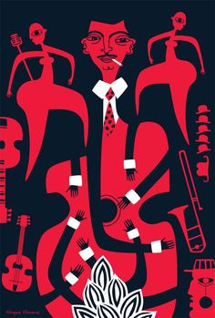 Very nice poster image inspired by jazz guitarist Django Reinhardt, courtesy of illustrator Nearchos Ntaskas
