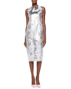 Front-Slit Metallic Feather Sheath Dress by Adam Lippes at Neiman Marcus.