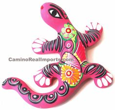 "HAND PAINTED CLAY GECKO MEASURES H-6"" X W-6"" MADE IN MEXICO (SIZE AND COLOR MAY…"