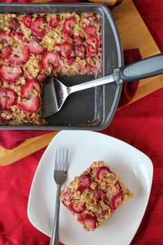 Strawberries & Cream Baked Protein Oatmeal.  http://www.onceuponacuttingboard.com/2013/06/strawberries-cream-baked-protein-oatmeal.html