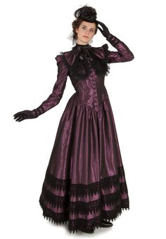 Desidera Gown By Recollections - In Dark Blue, Dark Green, or Purple; plus maybe Black or Dark Red for Hobby Girl. I like Plum, I just like Purple better, a lot better.
