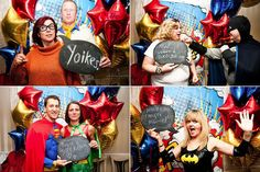 Themed Photo Booth Props: Create a colorful, comic book-themed backdrop for your photo booth, then stock the room with cheeky props for guests to play around. Photo by Juliet Mckee Photography via Rock N' Roll Bride
