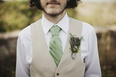 Country groom. ;) grooms men green shirt tan vest tan tie need brown belts and cowboy boots with jeans