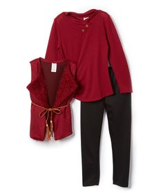 Look at this #zulilyfind! Just Kids Cranberry Faux Fur Vest, Long-Sleeve Top & Leggings - Girls by Just Kids #zulilyfinds