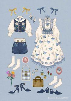 Vintage Fashion Sketches, Fashion Design Drawings, Drawing Fashion, Look Retro, Look Vintage, Cute Fashion, Fashion Art, Fashion Outfits, Emo Fashion