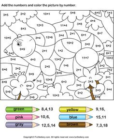 Addition Worksheets - Color By Adding Numbers 4 | Turtle Diary