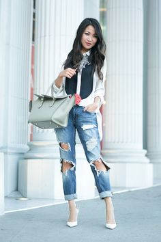 New Waves :: Shorter hair & Ripped jeans :: Outfit :: Top :: Marissa Webb Bottom :: Zara Bag :: Celine Shoes :: Gianvito Rossi Accessories :: Dylanlex necklace, Wanderlust + Co ring Published: August 14, 2015