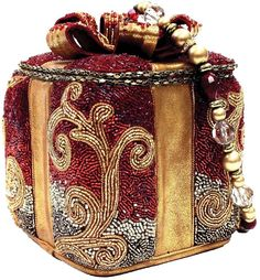 Mary Frances Handbag Gifted Holiday 2014 Winter Red Gold Beaded Sequin Bag Purse #maryfrances #eveningbaghandbag