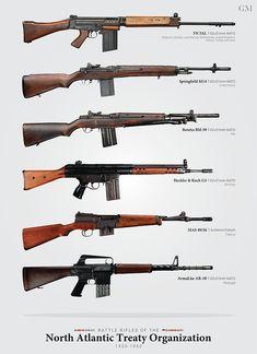 "icu ~ Pin on Guns ~ ""Battle Rifles of NATO"" Posters by Brendan Matsuyama Weapons Guns, Guns And Ammo, Fallout Weapons, Battle Rifle, Custom Guns, Weapon Concept Art, Hunting Guns, Assault Rifle, Firearms"