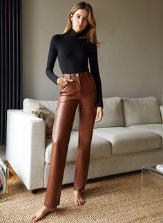 Blouse And Skirt, Denim Blouse, Blouse Dress, Jacket Dress, Dress Pants, Leather Pants Outfit, Faux Leather Pants, Paris Outfits, Fashion Outfits