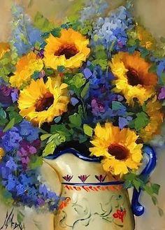 """Tickled by Sunshine Sunflowers"" - by Nancy Medina"