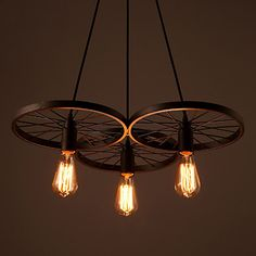 Loft Retro Restaurant Bar Pendant Lamps American country wrought iron chandeliers industrial style wheels – USD $ 115.99