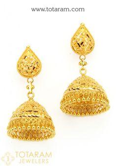Gold Jhumka Earrings, Gold Chandelier Earrings, Gold Earrings Designs, Gold Drop Earrings, Necklace Designs, Gold Necklace, Bridal Jewelry, Gold Jewelry, Jewelery