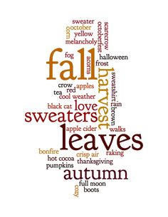 Words About Fall - Art Print  Etsy.