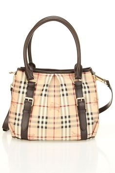 Burberry Tote In Classic Check & Chocolate.