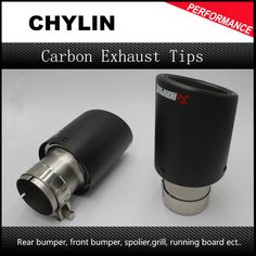 2PCS Carbon Fiber Coated Stainless Steel Universal Car Exhaust Pipe Tip Tailtip 89mm / 57mm Akrapovic Auto Exhaust