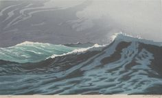 VORLÄUFIGES BILD ✨ Oscar Droege (1898-1983), Farb-Holzschnitt ::: Colour Woodcut PROVISIONAL PICTURE - Waves By Oscar Droege,