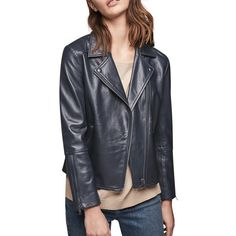 Gerard Darel Leather Valentin Jacket, Midnight Blue (€465) ❤ liked on Polyvore featuring outerwear, jackets, 100 leather jacket, collared leather jacket, gerard darel jacket, gérard darel and genuine leather jackets