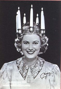 Sweden's Lucia - The Queen of Light 1952 - Laura perhaps I should get you larger candles for your December 13 event :-).
