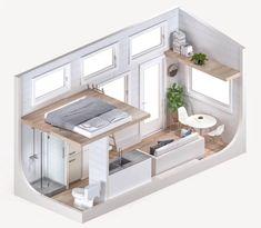 Plan Tiny House, Mini House Plans, Tiny House Layout, Small Tiny House, Modern Tiny House, Tiny House Cabin, Tiny House Living, Tiny House Design, House Layouts