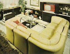 1970s corner lounge, replaced the conversation pit. seating area